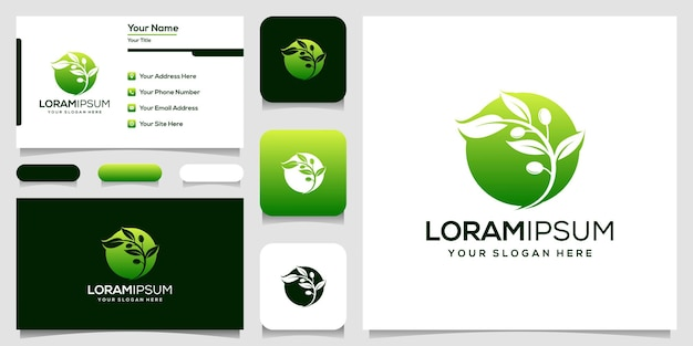 Biglietto da visita moderno dell'illustrazione di vettore del modello di logo dell'oliva
