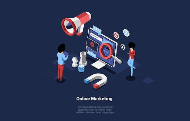 Illustrazione di concetto di marketing online moderno in stile 3d del fumetto