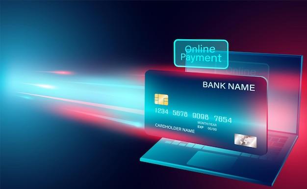 Pagamento in linea moderno con carta di credito sul computer portatile