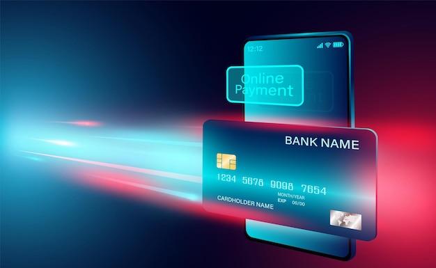 Pagamento online moderno con carta di credito su smartphone