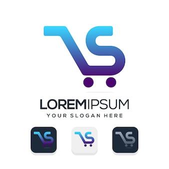 Modello moderno del logo della lettera s del negozio online