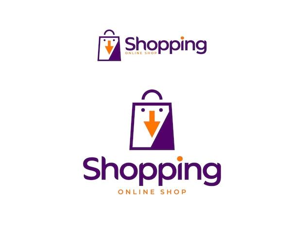 Logo moderno del negozio online con l'illustrazione della borsa della spesa