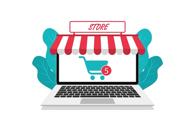 Negozio in linea moderno in laptop. acquisti online. stile piatto. per siti web e app.