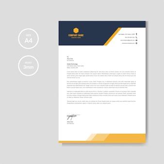 Modello di layout di carta intestata arancione moderno