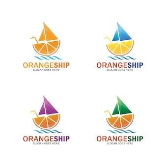 Progettazione moderna dell'illustrazione del modello di logo della nave arancione, simbolo della bevanda fresca - vettore