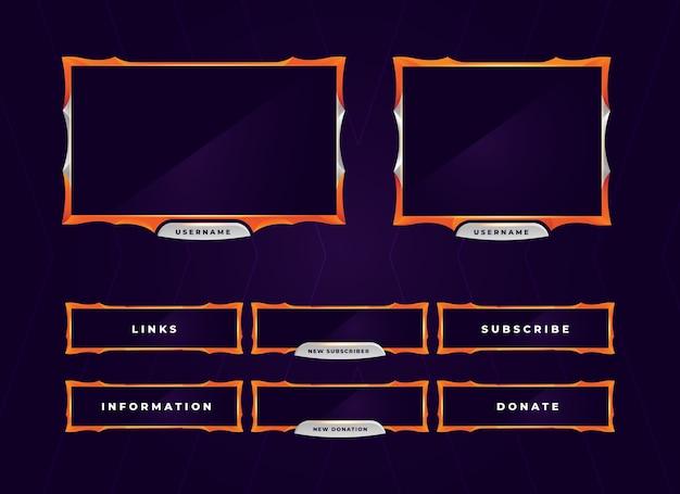 Sovrapposizione del pannello di gioco moderno arancione twitch