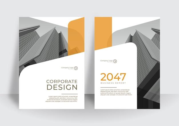 Layout di progettazione di copertina a4 bianco arancione moderno impostato per il business. geometria astratta con concetto aziendale