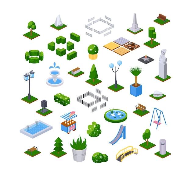 Insieme di elementi isometrici di arredamento moderno per esterni. arredo paesaggistico per parchi giardino. vettore di disegno della città