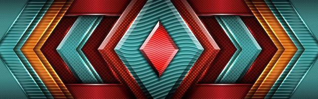 Moderna dimensione in metallo ciano sovrapposto con design rosso scuro