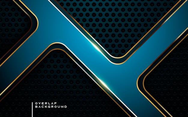 Strato di sovrapposizione moderno sfondo blu multi dimensione