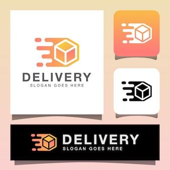Design moderno del logo di consegna della scatola del pacchetto, modello di logo express di logistica