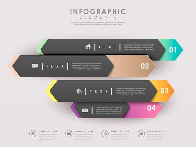 Elementi infographic del modello moderno delle insegne della freccia di carta