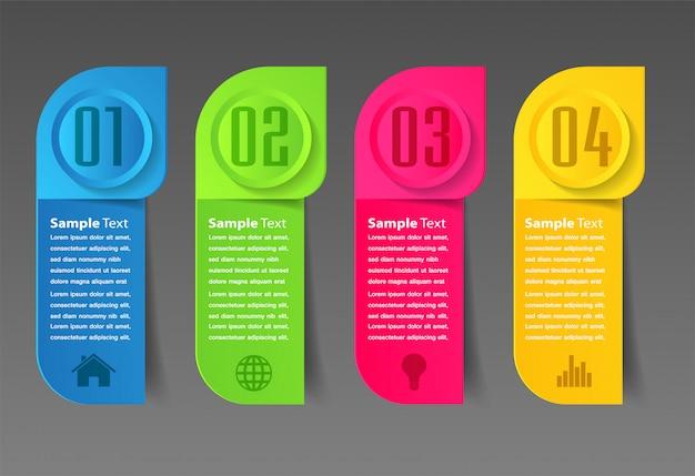 Modello di casella di testo di carta moderna, banner infografica