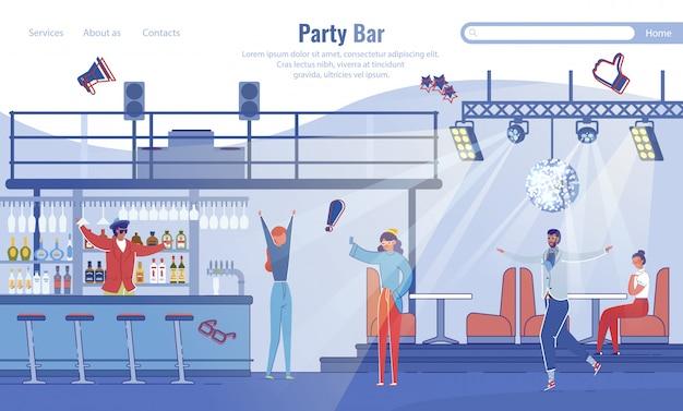 Modello di pagina di destinazione di modern party bar
