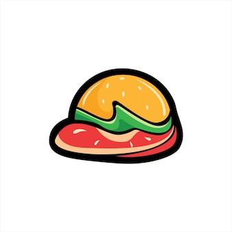 Moderna clipart di patty cheese burger illustrazione colorata di delicious hamburger