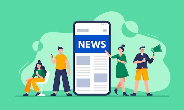 Le persone moderne leggono le notizie sugli smartphone