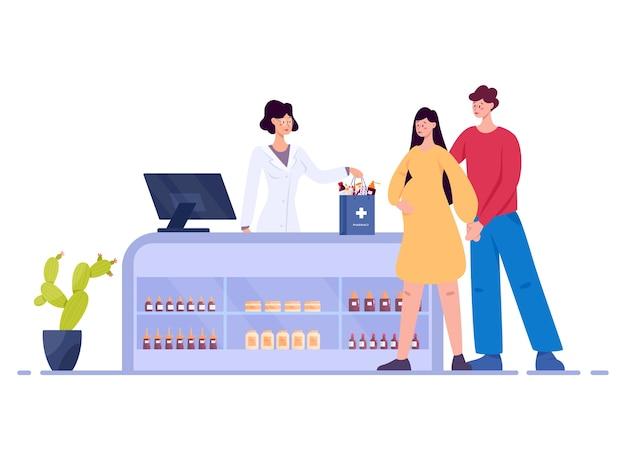 Interiore moderno della farmacia con il visitatore