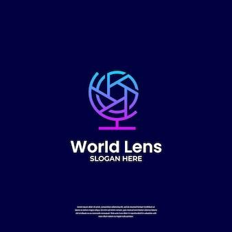 Il logo della fotografia moderna combina l'obiettivo e il modello del logo del globo