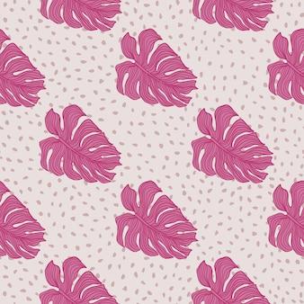 Modello senza cuciture di sagoma di foglie di monstera rosa moderno su sfondo di puntini