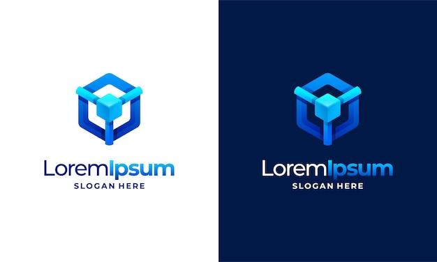 Il logo moderno della tecnologia pixel progetta il vettore del concetto, il simbolo del logo di rete internet a forma esagonale