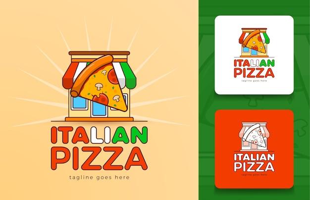 Moderno concetto di logo pizzeria in vettoriale