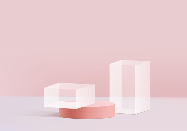Piattaforma moderna con con vetro rosa moderno.