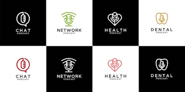 Moderna collezione di design del logo podcast