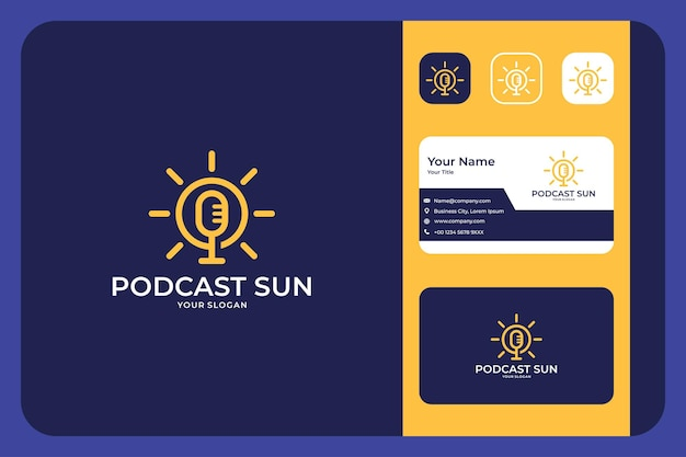 Design moderno del logo del sole podcast e biglietto da visita