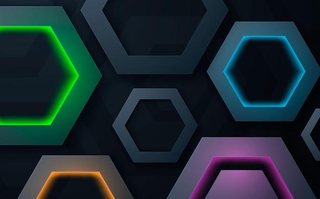 Fondo moderno di strati di dimensione di forma del poligono con luce variopinta