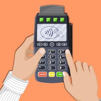Terminale pos moderno in mano dispositivo di pagamento bancario pagamento con tastiera nfc lettore di carte di debito di credito