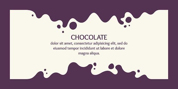Poster moderno dinamico schizzi e gocce di illustrazione vettoriale di cioccolato in uno stile piatto