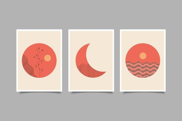 Collezione di paesaggi della natura di poster moderni