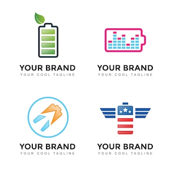 Set logo della batteria di alimentazione moderna