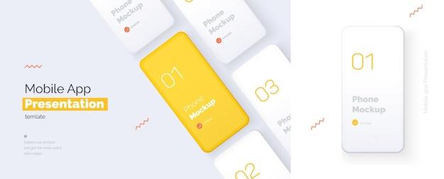 Presentazione moderna di un'applicazione mobile Vettore Premium