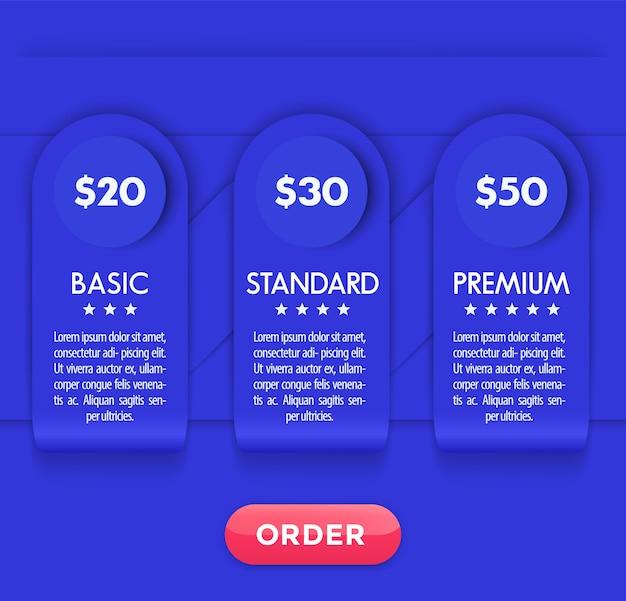 Tabella dei prezzi moderna con tre opzioni