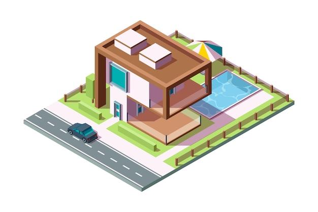 Moderna casa privata. esterno residenziale di edificio di lusso con erba auto piscina vettore casa isometrica low poly 3d. costruzione di casa esterna della villa, illustrazione privata di architettura domestica