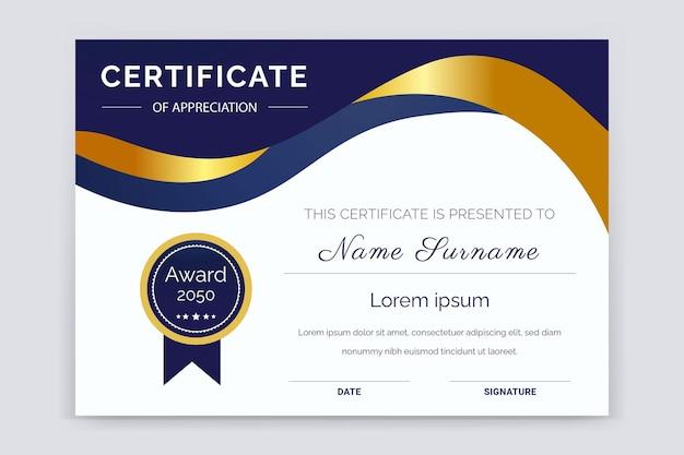 Design del modello di certificato moderno e professionale del premio di apprezzamento