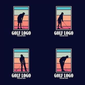 Design moderno del logo del modello di golf professionale per mazza da golf