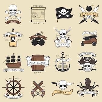 Logo moderno pirata professionale distintivi marini spada nautica vecchio scheletro modello e teschio roger mare icona capitano ocean art element