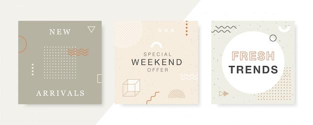 Banner web quadrati promozione moderna per social media e app mobili.