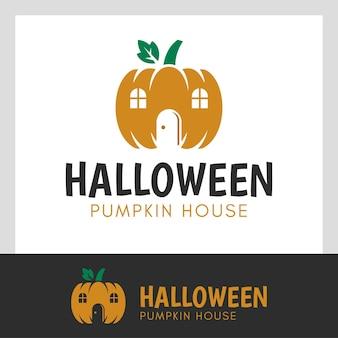 Il moderno design vettoriale del negozio di zucca per l'evento vegetariano del mercato di halloween richiede il design del logo del giorno