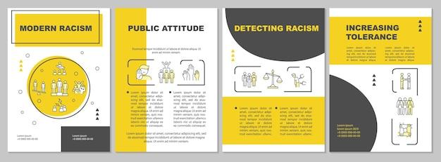 Modello di brochure sul razzismo moderno. disuguaglianza pubblica. volantino, opuscolo, stampa di volantini, copertina con icone lineari. layout vettoriali per presentazioni, relazioni annuali, pagine pubblicitarie