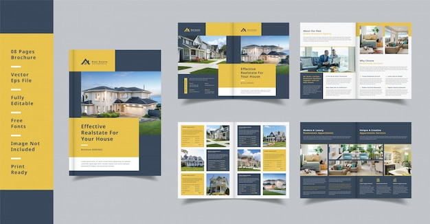 Opuscolo immobiliare moderno profilo di design 08 pagine