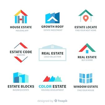 Moderno logo immobiliare collectio Vettore Premium