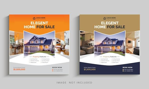 Modello di banner per social media post o instagram moderno immobiliare