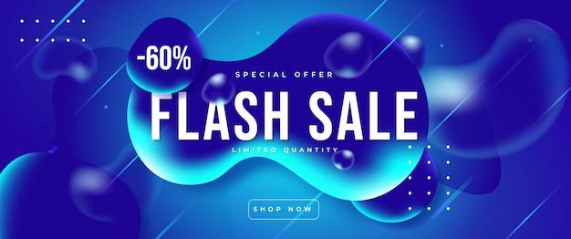 Banner di vendita flash realistico moderno sul fluido