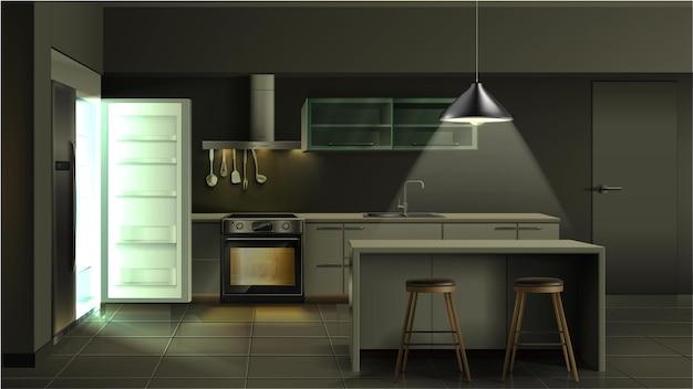 Interno della cucina moderna realistica la sera con frigorifero aperto con luce con forno utensili con armadi e ripiani leggeri