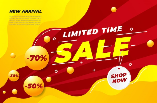 Banner di vendita realistico moderno con sconti multipli