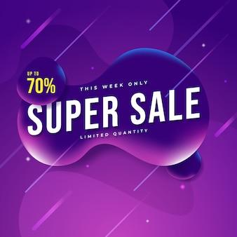 Banner di vendita super realistico moderno sul colore viola