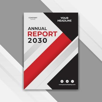 Design moderno della copertina del rapporto annuale rosso e nero